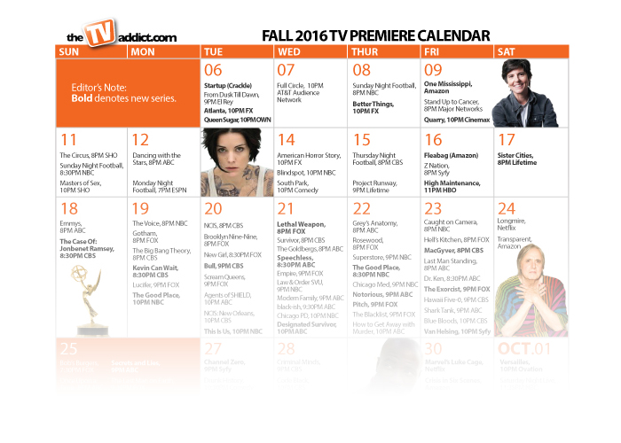 your definitive fall tv 2016 calendar  print and download